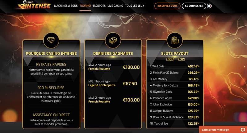 casino intense vip bonus screenshot